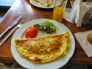 Photo: Breakfast on our last day in Vilnius. Omlet with tomatoes and pickels