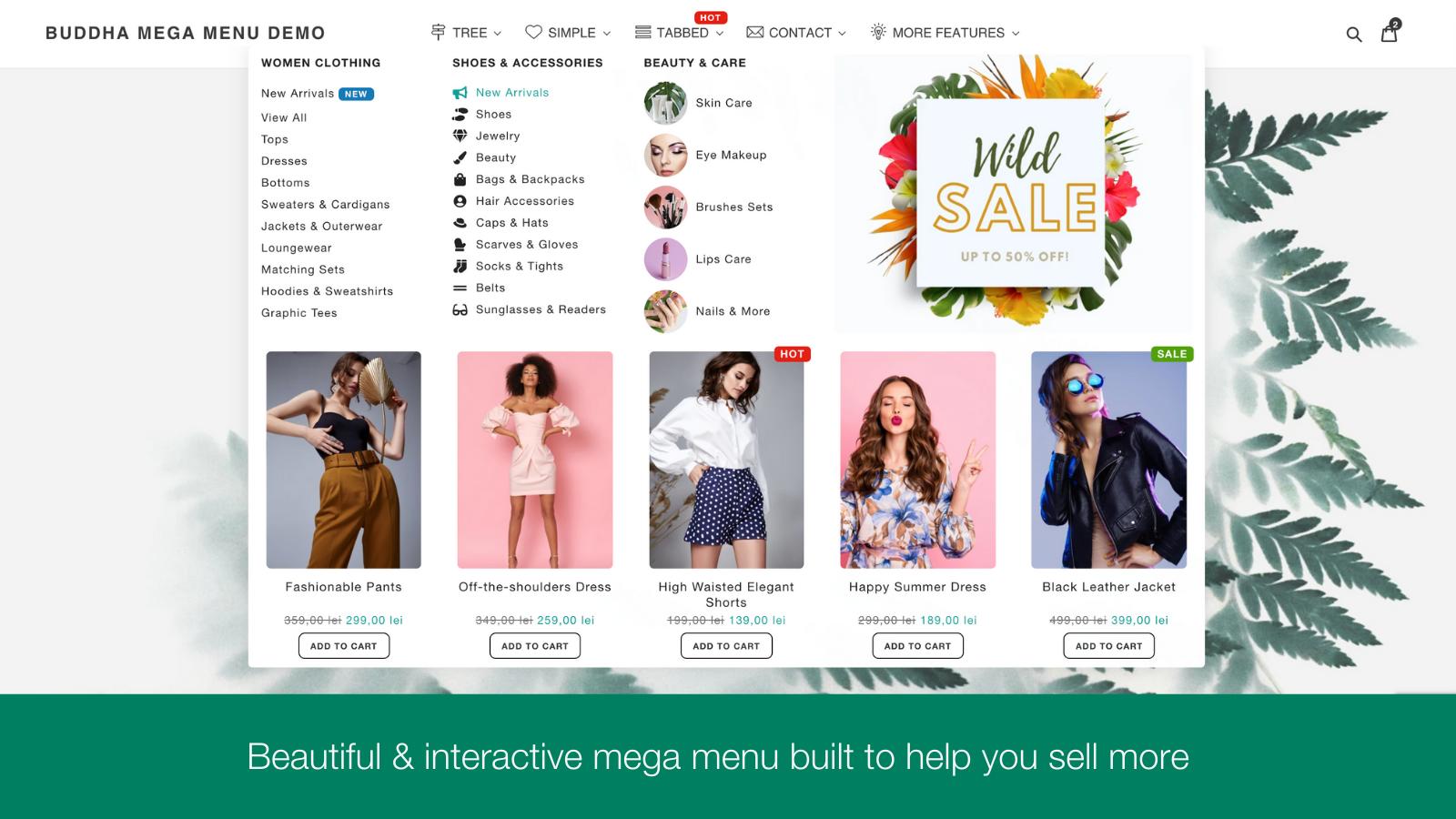 mega menu submenu drop down navigation sale discount product bar