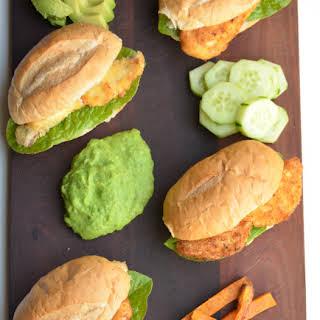 Fish Burgers With Mushy Peas.
