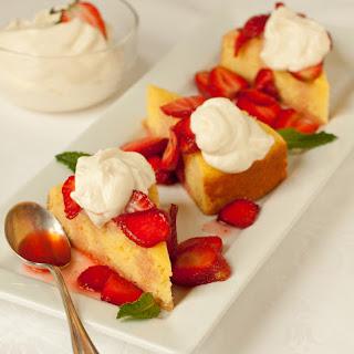 Cornmeal Cake with Strawberries & Whipped Yogurt Cream