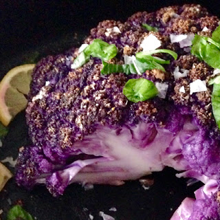 Whole Roasted Cauliflower with Mint-Basil Chimichurri