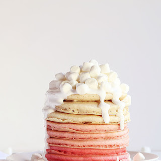 Pink Ombre Pancakes with Marshmallow Fluff Frosting Recipe