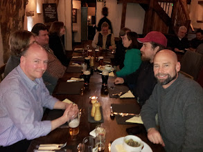 Photo: Richard Eyton-Jones (left), brewer for Dark Horse (maker of Hetton Pale Ale), joined our group for lunch in the Cruck Barn. On the right is Bob Sandage, owner/brewer for the Wrecking Bar brewpub in Atlanta.