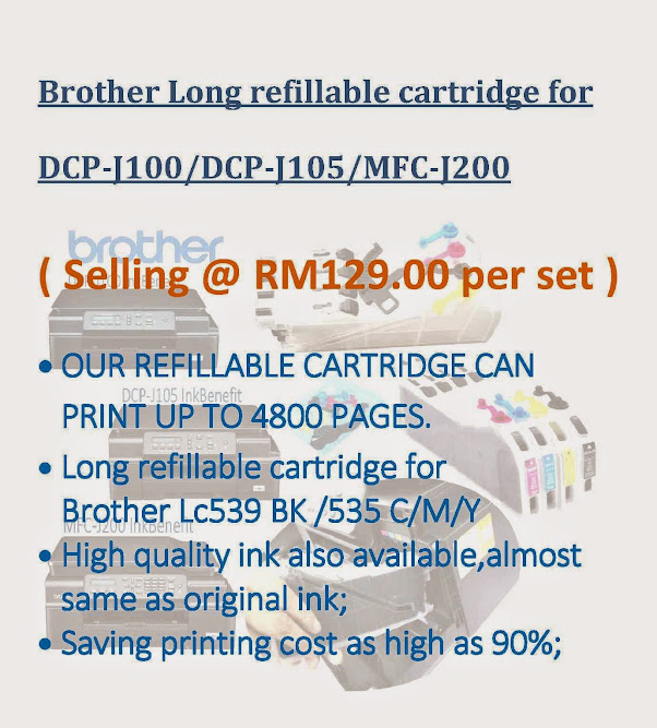 Brother Long refillable cartridge for DCP-J100/DCP-J105/MFC-J200 Inkjet Printer