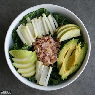 Easy AIP Salad | Kale, Kohlrabi, Avocado, Apple and Tuna.