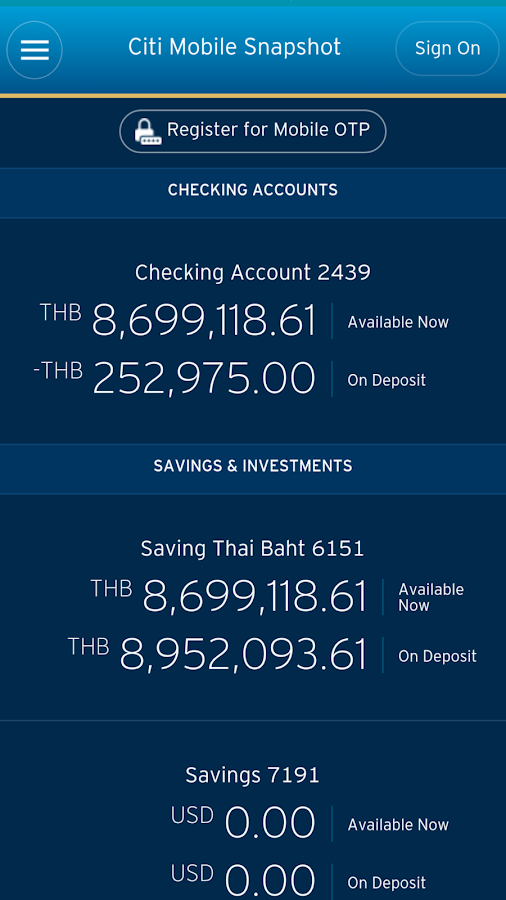 Citibank TH- screenshot