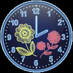 Neon Flowers Analog Clock Icon