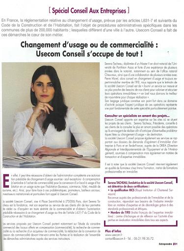 ENTREPRENDRE CHANGEMENT D'USAGE ET COMMERCIALITE