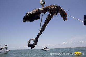 Photo: Hoisting anchor from Queen Anne's Revenge - June 2011