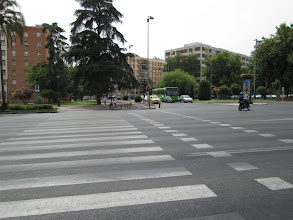 Photo: A major street by the university we attended. The drivers in Spain seemed to be much more aggressive than drivers in the United States, and it was very common for drivers to not follow the traffic laws.