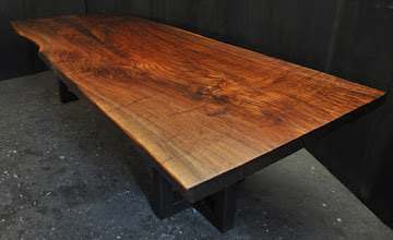 Photo: the latest claro walnut slab table 7/2016 http://dorsetcustomfurniture.blogspot.com/2016/06/a-custom-claro-walnut-slab-table.html