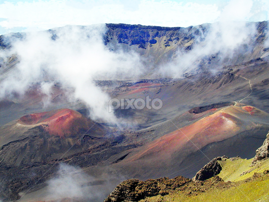 Haleakala Caldera by Joseph Vittek - Landscapes Mountains & Hills ( crater, clouds, orange, maui, volcano, haleakala, lava, green, tropical, caldera, brown, gray, hawaii, island )