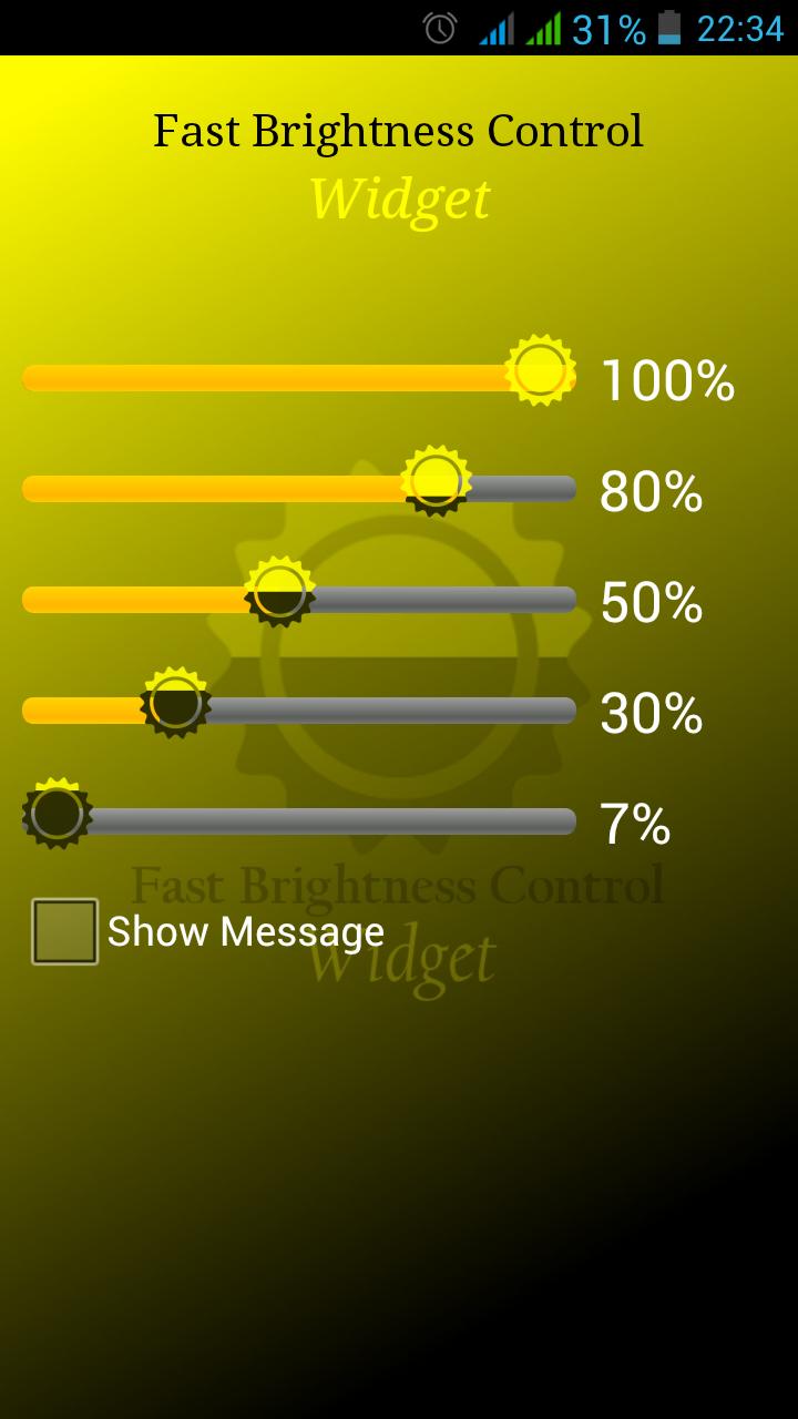Скриншот Fast Brightness Control Widget