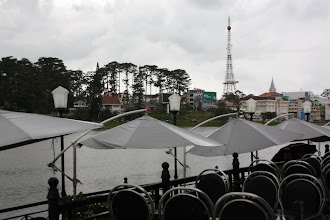 Photo: Year 2  Day 16  -  View of the Eiffel Tower from Xuan Huong Lake Restaurant
