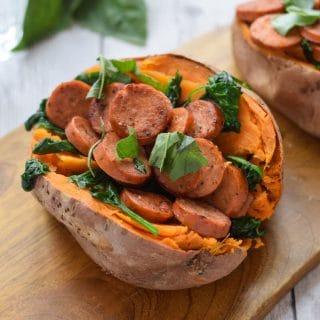 Sausage Stuffed Sweet Potatoes
