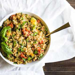 Balsamic Quinoa Salad with Roasted Tomatoes + Green Beans.