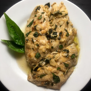 Pan Seared Grouper With Basil Brown Butter Sauce.