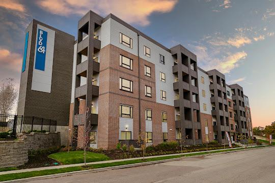 BLVD64 Apartments building at dusk