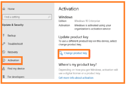 click on the Change product key from the right column