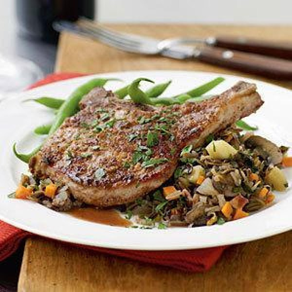 Nut-crusted Pork Chops With Vegetable Wild Rice Recipe