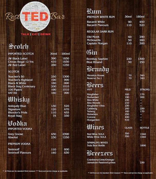 TED Resto Bar menu 2