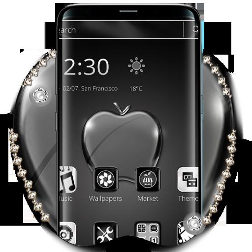 Black Shining Apple Launcher Theme