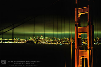 Photo: Flashback to Film: Golden Gate Bridge Evening View This was taken many moons ago. I had to work on this image recently for a project and thought I'd share it. I suspect only some photo forum old timers will recognize this one.  This photo was taken on Fuji Velvia film and due to the length of the exposure experienced some reciprocity failure shifting the color to a greenish hue. As I recall the skyline and light reflecting off the high altitude clouds did look greenish, but its a bit greener thanks to Velvia's reciprocity characteristics.