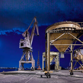 Cranes & Silos by Fokion Zissiadis - Transportation Other ( industrial, nightphotography, longexposure )