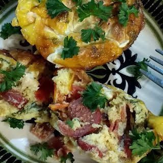 Healthy Eggs Cups with Veggies and Sausage..