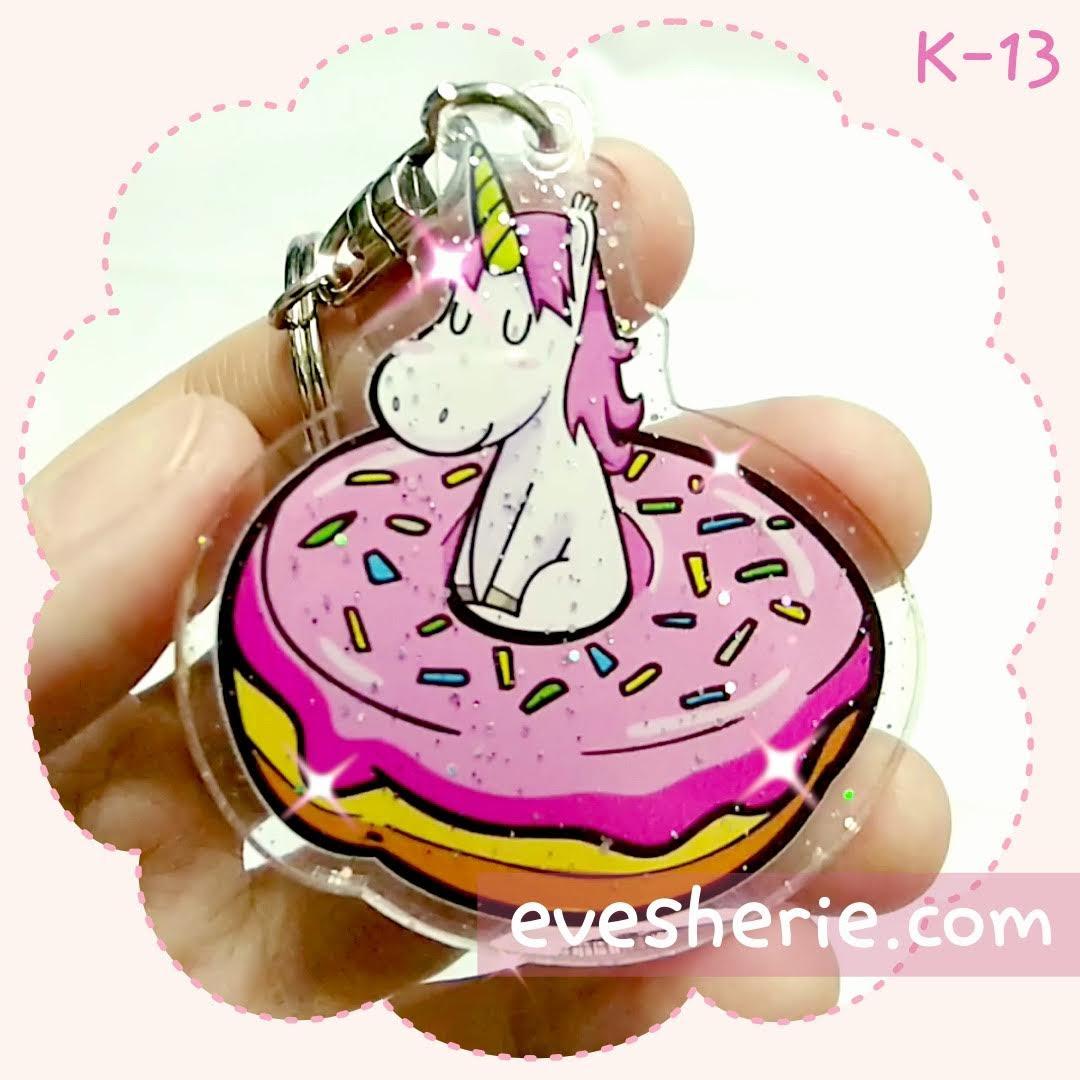 พวงกุญแจ ยูนิคอร์น โดนัท สีชมพู น่ารัก cute pink unicorn donut keychain