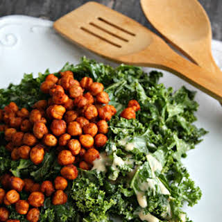 Kale Salad with Crispy Chickpeas and Japanese Sesame Miso Dressing.