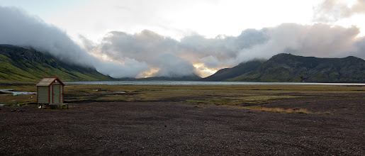 Photo: ... a camp dry toilet with great scenery of Alftavatn lake ...