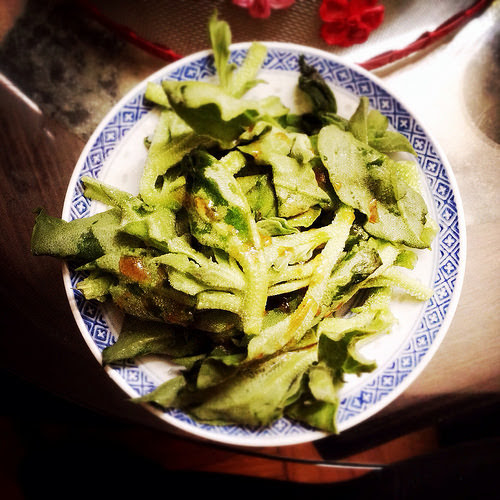 Crystalline Iceplant, iceplant, ice plant, Salad, chinese cold dish, Soy Sesame Dressing, chinese dressing,  冷拌, 水晶冰菜, chinese salad, recipe