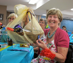 Photo: Sue H wins the draw for the Wine and Chocolate Hamper!