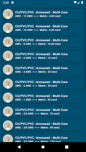 Screenshot for Voltage drop / Cable size /Short circuit Calc. pro in United States Play Store