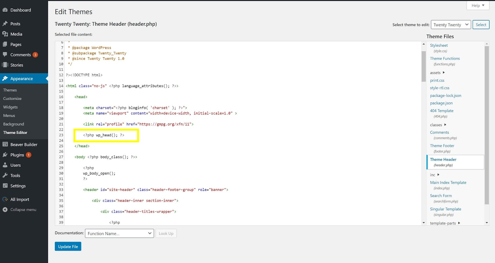 Image of where to find the wp_head hook in your WordPress theme's header