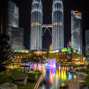 Twin Towers by Tien Sang Kok - Buildings & Architecture Public & Historical ( reflection, building, architecture, cityscape, nightscape )