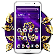 Golden Purple Flower Theme Launcher