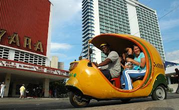 Photo: A coco-taxi in Havana. Tracey Eaton photo.