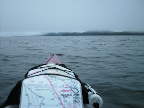 Photo: Heading across Holkham Bay on a foggy morning.