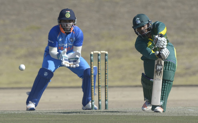 Khaya Zondo of South Africa and Wicket Keeper Rishabh Pant of India during the Tri-Angular Series match between South Africa A and India A at Groenkloof Stadium on July 26, 2017 in Pretoria, South Africa.