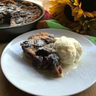 French Clafoutis Black Cherry Dessert.