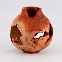 "Photo: Jerry Kaplan - 2"" x 4.5"" hollow form [manzanita burl]"