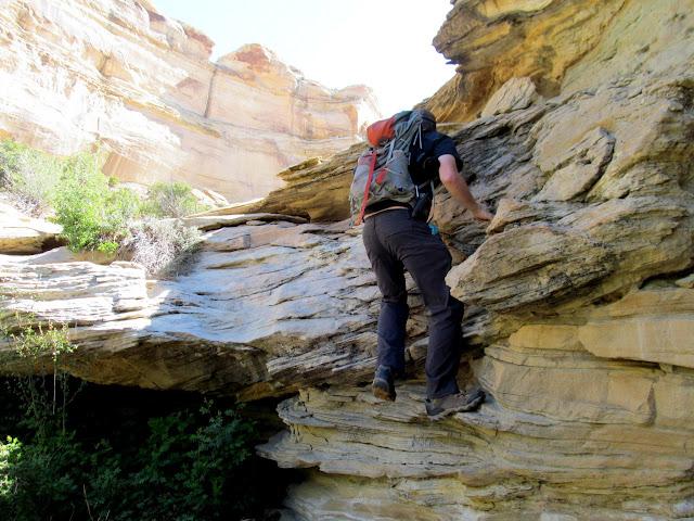 Climbing above a dryfall