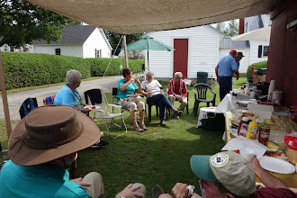 Photo: Lunch in the shade.  A number of members brought their own chairs.