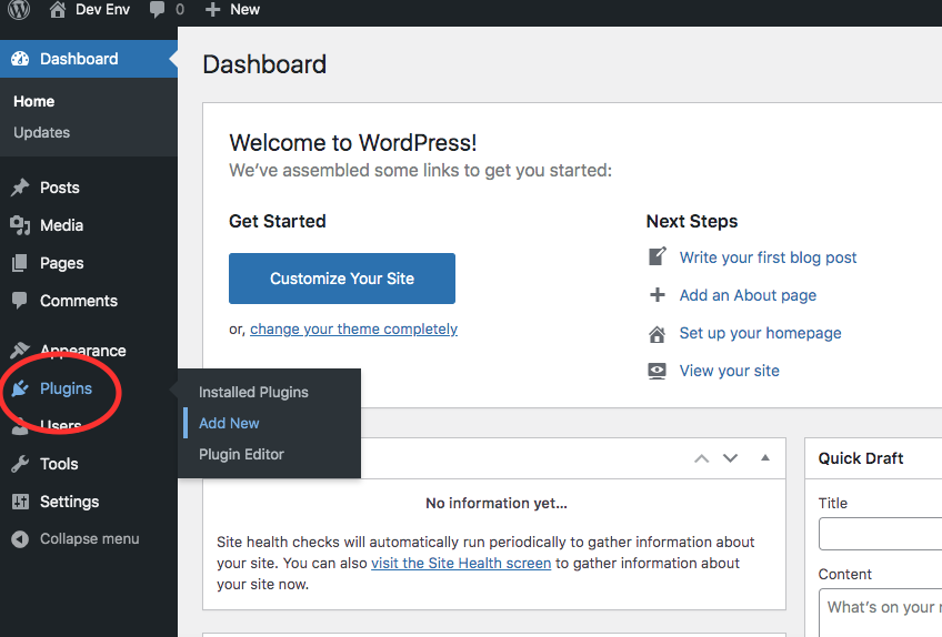 Button for when you want to add a plugin to WordPress