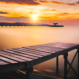 UMS ODEC by Ervin Moung - Buildings & Architecture Bridges & Suspended Structures ( wooden jetty, pier, sabah, ums, kota kinabalu, jetty, bridge, long exposure, malaysia, north borneo, sea, borneo,  )