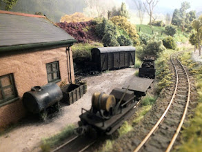 Photo: 024 The permanent way gang's trolley is parked up in the shed siding along with a couple of other wagons, whilst the main line snakes away across the heath towards the mine .