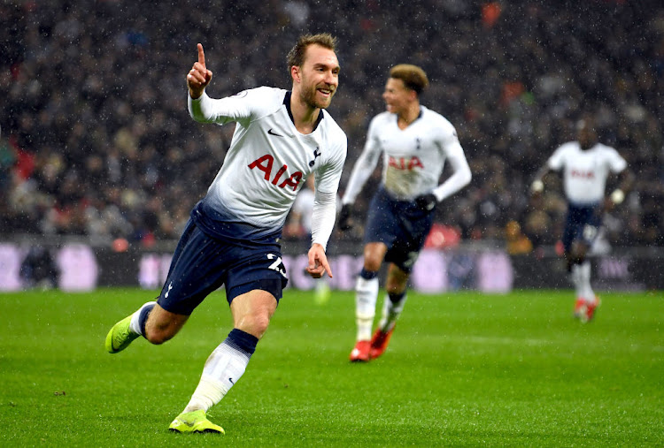 Christian Eriksen of Tottenham Hotspur celebrates after scoring his team's first goal during the Premier League match between Tottenham Hotspur and Burnley FC at Tottenham Hotspur Stadium on December 15, 2018 in London, United Kingdom.