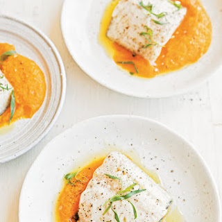 Roasted Black Cod with Carrot-Tarragon Puree.